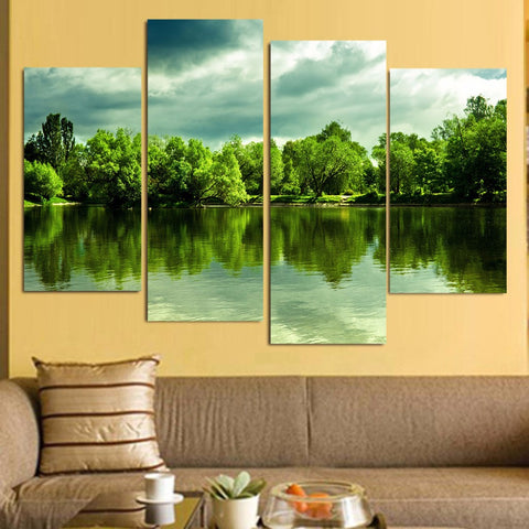 4 Panel Green Lake & Trees Modern Decor Canvas Wall Art HD Print