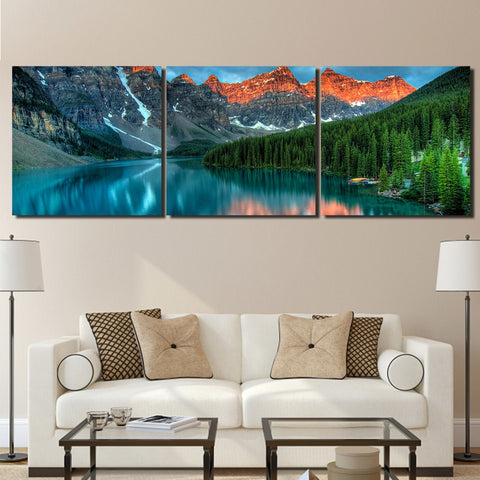 3 Panel Moraine Lake Forest Mountain Modern Decor Canvas Wall Art HD Print