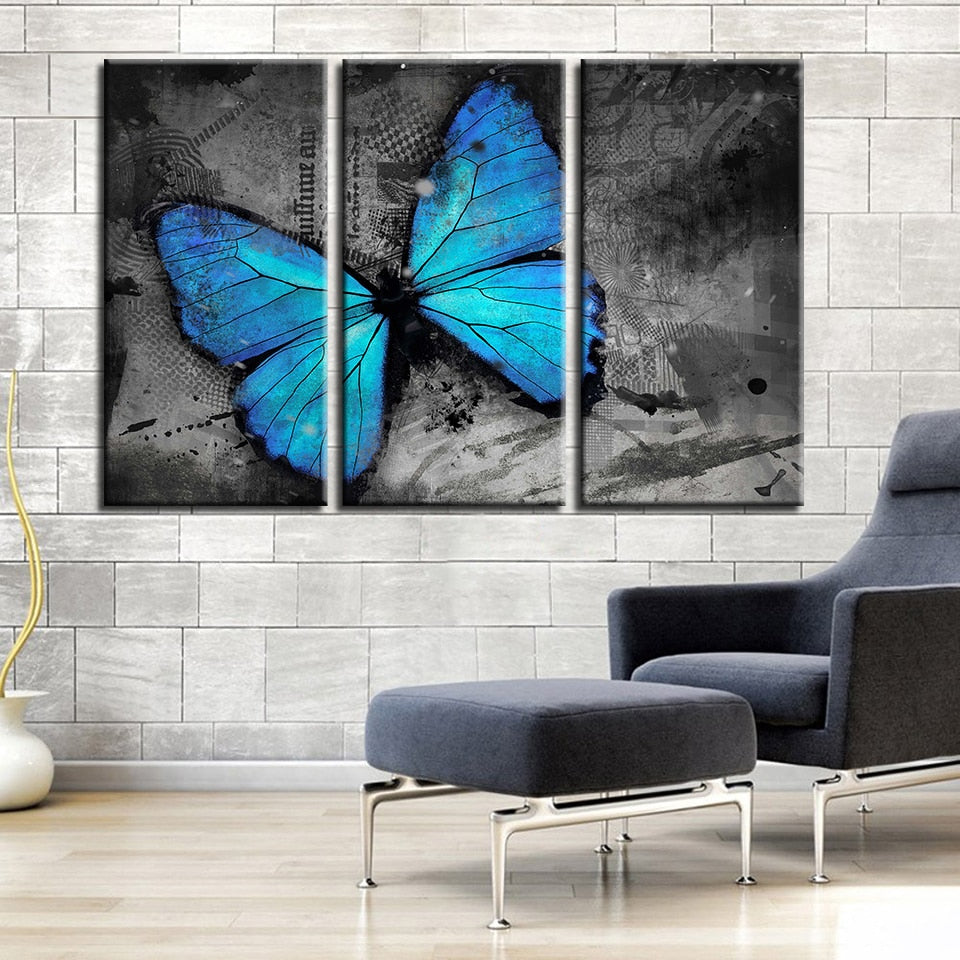 3 Piece Blue Butterfly Modern Canvas Wall Art HD Print