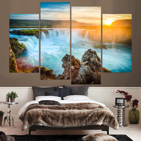 4 Panel Sunrise Over A Waterfall Modern Decor Canvas Wall Art HD Print