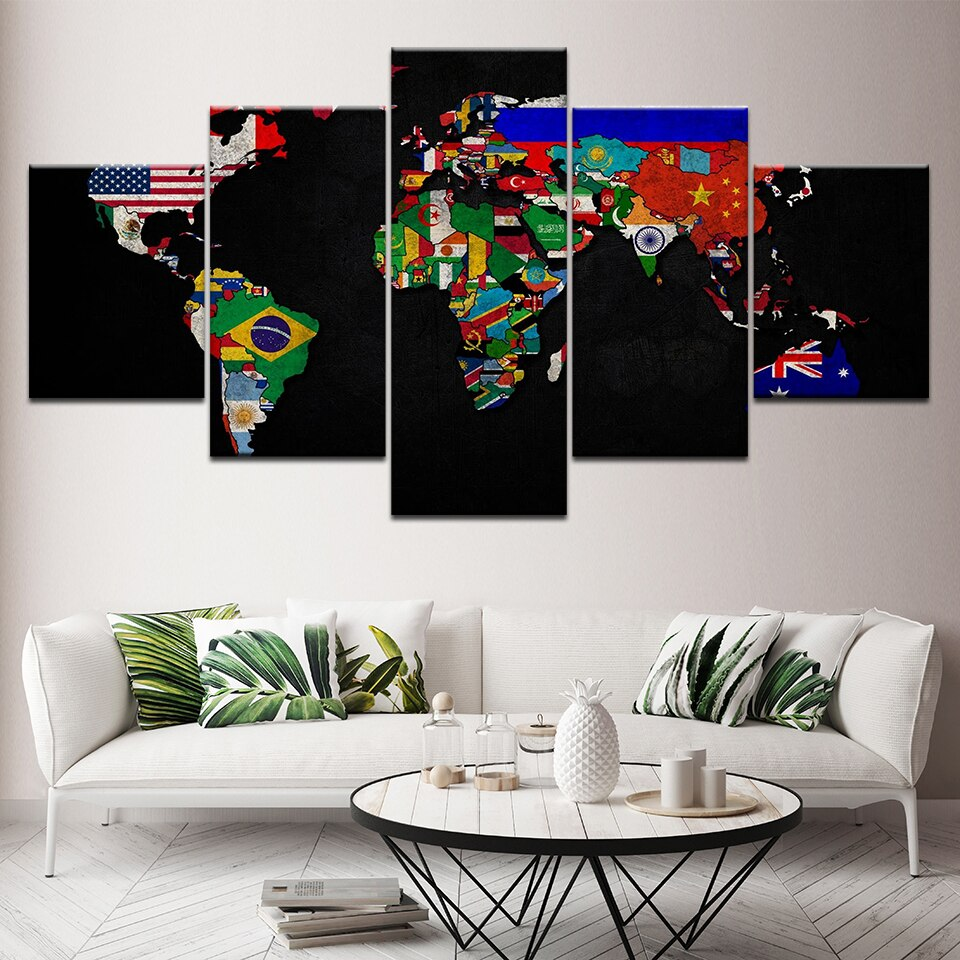 5 Panel Framed National Flag World Map Modern Décor Canvas Wall Art HD Print