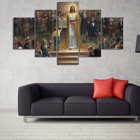5 Panel Easter Jesus Painting Photo Modern Decor Canvas Wall Art HD Print