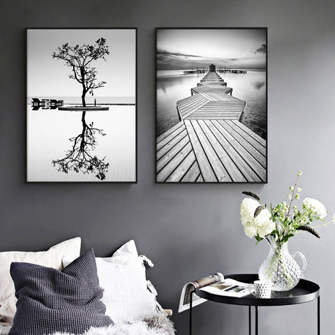 Nordic  Black And White Tree/ Bridge Modern Decor Canvas Wall Art HD Print