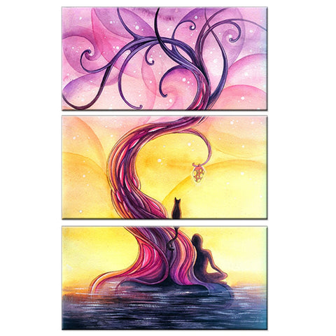 3 Pc Purple Tree Abstract Scenery Canvas Wall Art Print