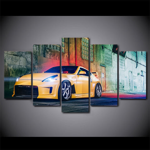 5 Panel Yellow Nissan 370Z Street Car Modern Décor Wall Art Canvas HD Print