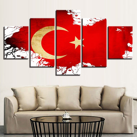 5 Panel Framed Turkish Flag Modern Décor Canvas Wall Art HD Print