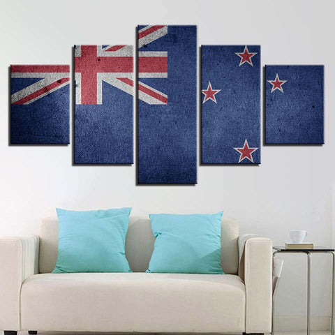 5 Panel Framed New Zealand Flag Modern Décor Canvas Wall Art HD Print
