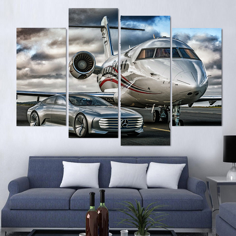 4 Panel Mercedes Sports Car & Private Jet Modern Décor Wall Art Canvas HD Print