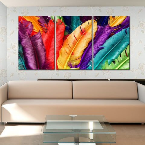 Canvas Posters Home Decor Modern Wall Art Framework 3 Pieces Colorful Feather Paintings Living Room HD Prints Landscape Pictures