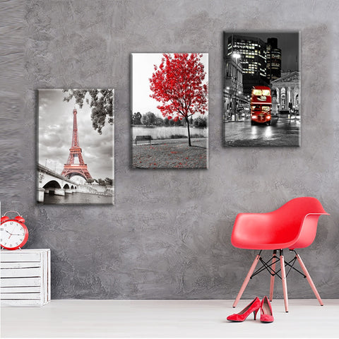 3 Panels Eiffel Tower London Bus Red Maple Tree Modern Decor Canvas Wall Art HD Print