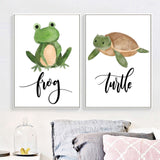 Nordic Watercolor Frog Turtle Snake Modern Decor Canvas Wall Art HD Print