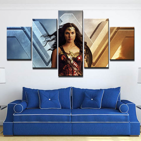 5 Panel Wonder Woman & Emblem Modern Décor Canvas Wall Art HD Print
