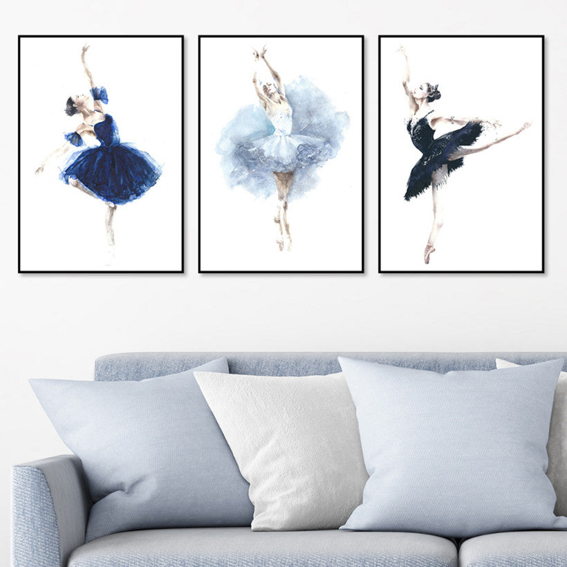 Nordic Style Three Ballet Dancers Modern Decor Canvas Wall Art HD Print
