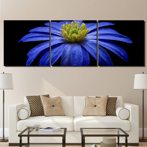 3 Pieces Balkan Anemone Blue Flower Modern Decor Canvas Wall Art HD Print