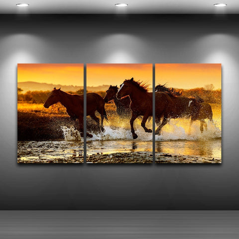 Canvas Wall Art Pictures Home Decor 3 Pieces Modern HD Printed Animal Posters Sunset Horses Running Paintings Modular Framework
