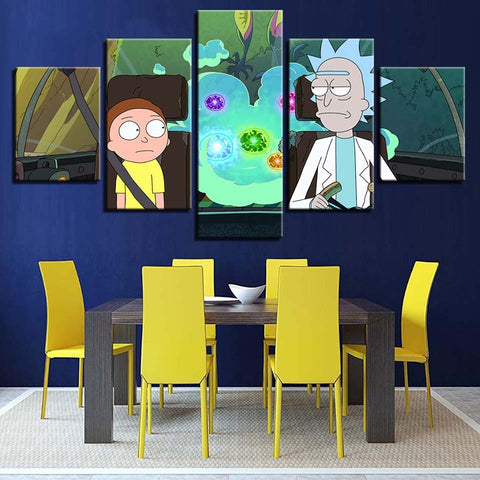 5 Panel Rick And Morty Cartoon Modern Decor Canvas Wall Art HD Print