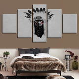 5 Panel Native American Indian Chief Modern Decor  Canvas Wall Art HD Print