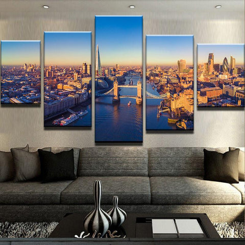 5 Panel London Tower Bridge Modern Decor Canvas Wall Art HD Print