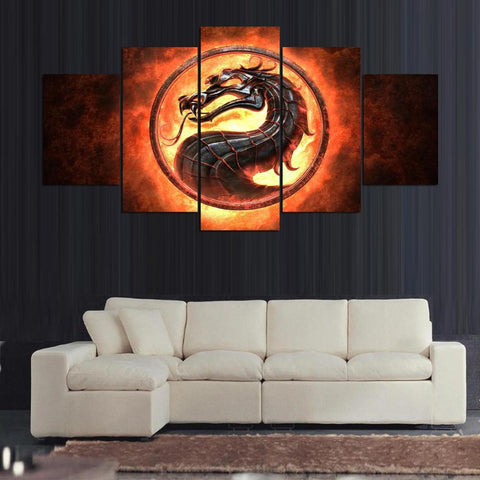5 Panel Mortal Combat Modern Décor Canvas Wall Art HD Print.