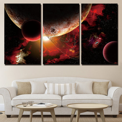 3 Piece Red Planets Stars Space Modern Canvas Wall Art HD Print