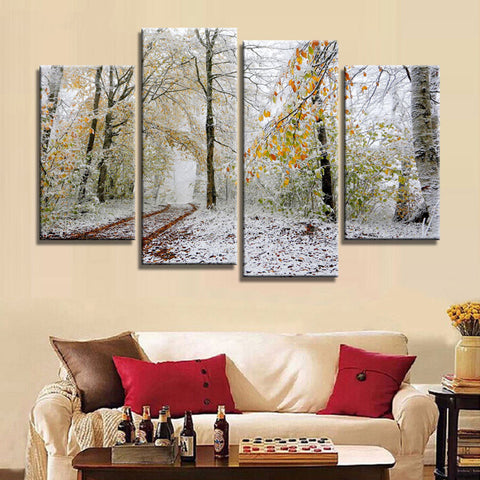 4 Panel Snow filled Woodlands Modern Decor Canvas Wall Art HD Print