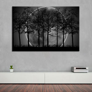 Piece Black White Moon Night Psychedelic Forest Paintings Wall Art Trees Pictures