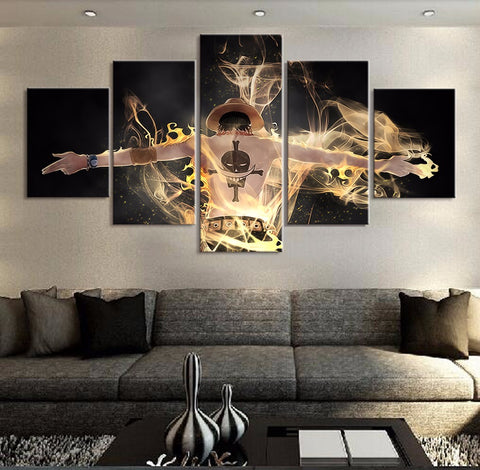 5 Panel Portgas D. Ace- Fire First Ace Modern Decor Canvas Wall Art HD Print