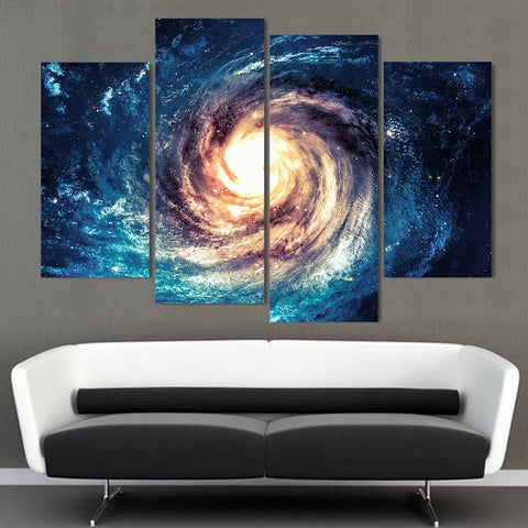 4 Panel Galaxy Black Hole Modern Decor Canvas Wall Art HD Print