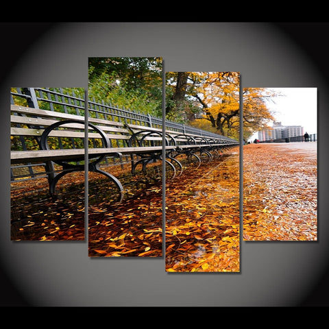 4 Panel Park Bench in City Park Modern Decor Canvas Wall Art HD Print
