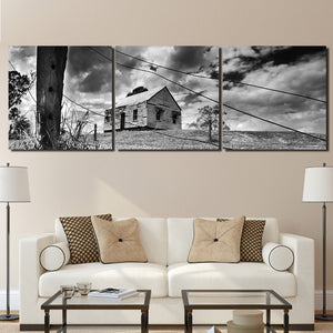 3 Panel Farm House on The Hill Modern Decor Canvas Wall Art HD Print