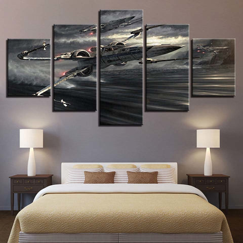5 Panel Star Wars Accelerating X-Wings Modern Decor Canvas Wall Art HD Print
