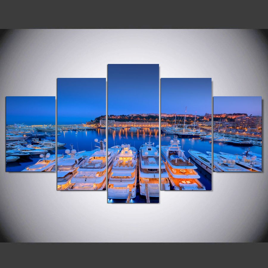 Pictures Frame Canvas Wall Art Decor HD Living Room Modular 5 Panel Monaco Yacht Night View Printed Poster Painting PENGDA
