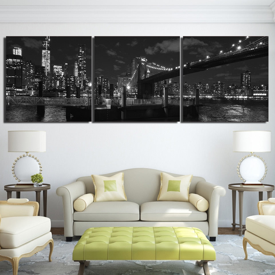 3 Panel Brooklyn Bridge New York Nightscape Modern Décor Canvas Wall Art HD Print