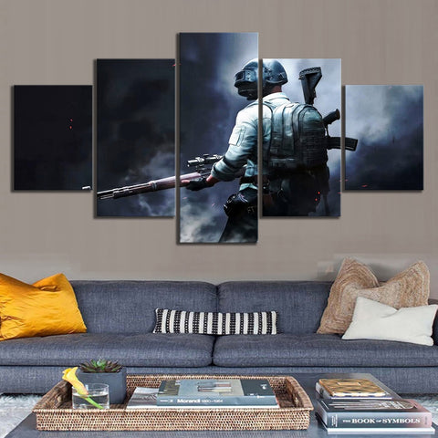 5 Panel PUBG Level 3 Modern Décor Wall Art Canvas HD Print