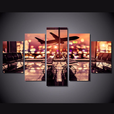 5 Panel Boeing Night Time Take Off Modern Décor Wall Art Canvas HD Print