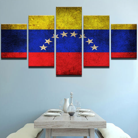 5 Panel Framed Flag of Venezuela Modern Décor Canvas Wall Art HD Print