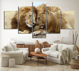5 Panel Two Lion Brothers Modern Décor Wall Art Canvas HD Print