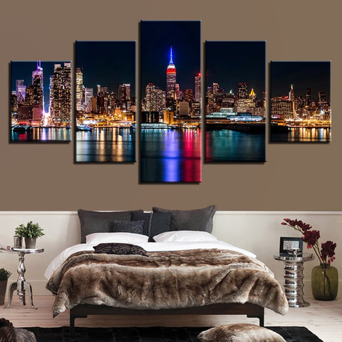 5 Panel New York City Nightscape Paintings Building Pictures Home Decor Framework