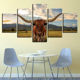 Canvas Wall Art Pictures 5 Pieces Long Horned Cattle Paintings Home Decor For Living Room HD Prints Animal Ox Poster Framework