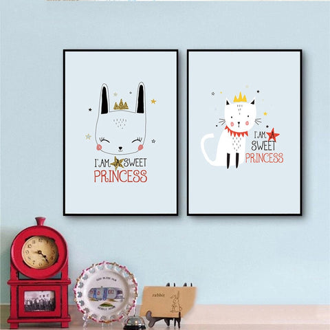 Nordic Style Girl Room Bedroom Cartoon Animal Cats And Letters Modern Kids Room Canvas Wall Art HD Print