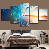 5 Panel Sunset Blue Ocean Sea Waves Modern Decor Canvas Wall Art HD Print