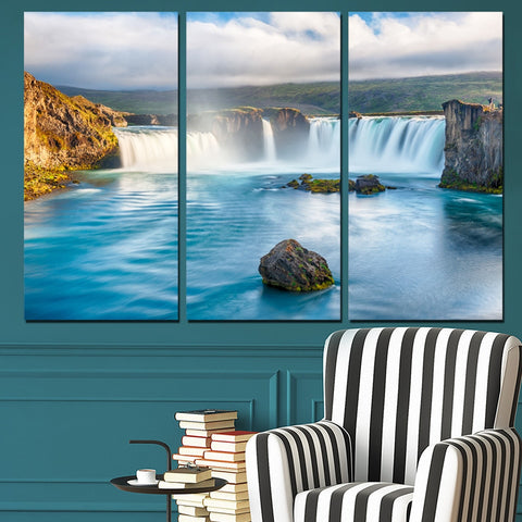 3 Panel Iceland Goðafoss Waterfalls Modern Decor Canvas Wall Art HD Print