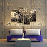 4 Panel a Herd of Elephants Modern Decor Canvas Wall Art HD Print
