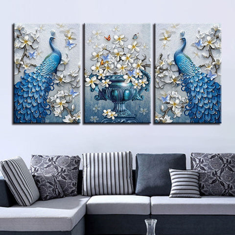 3 Pieces Blue Peacock Modern Decor Canvas Wall Art HD Print