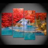 4 Panel Waterfall in Autumn Forest Modern Decor Canvas Wall Art HD Print