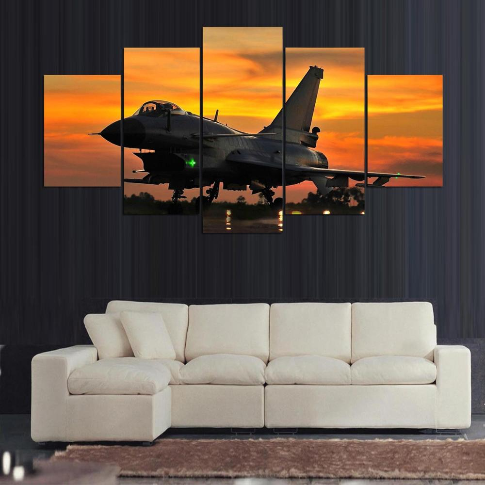 5 Panel F-16 Falcon Plane in Sunset Modern Décor Wall Art Canvas HD Print