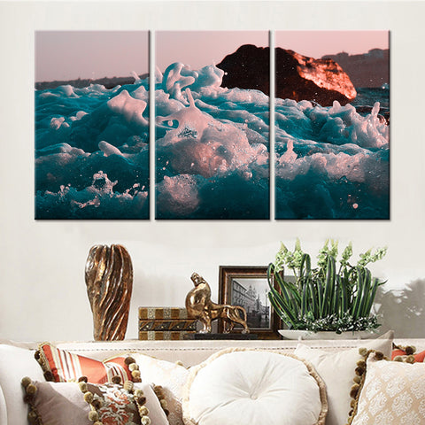 3 Panel Foam Sea Waves Modern Decor Canvas Wall Art HD Print