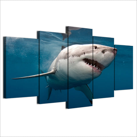 Modern Wall Art Canvas Paintings Framework HD Printed Pictures 5 Pieces Great White Shark Poster Home Decoration For Living Room