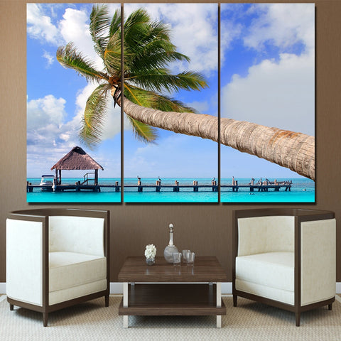 3 Panel Cancun Isla Mujeres Island with Coconut Tree Modern Decor Canvas Wall Art HD Print