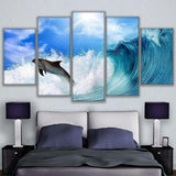 5 Panel Framed Dolphin Rides The Wave Modern Décor Canvas Wall Art HD Print.